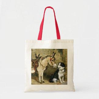 Dog & Donkey Animal Friends - Vintage Art by Emms Budget Tote Bag