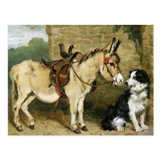 Dog & Donkey Animal Friends - Vintage Art by Emms Postcard
