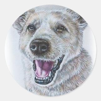 Dog Drawing Design of Sitting Happy Dog Classic Round Sticker
