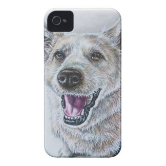Dog Drawing Design of Sitting Happy Dog iPhone 4 Covers