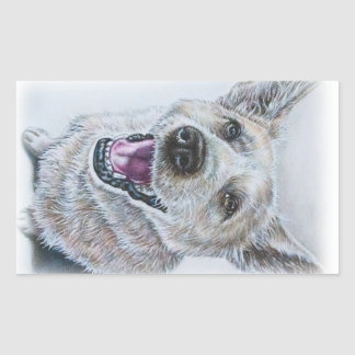 Dog Drawing Design of Sitting Happy Dog Rectangular Sticker