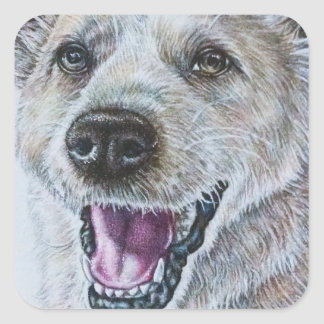 Dog Drawing Design of Sitting Happy Dog Square Sticker