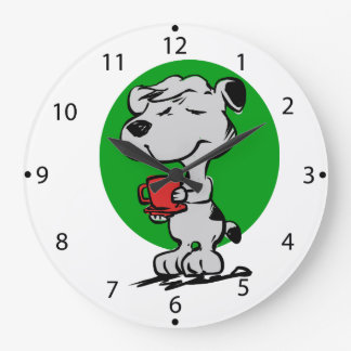Dog drinking coffee large clock