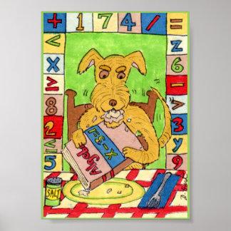 Dog Eating Math Homework Mini Folk Art Poster
