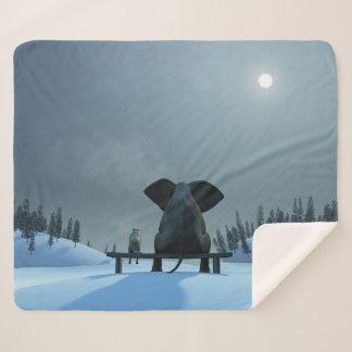 Dog & Elephant Friend Medium Sherpa Fleece Blanket