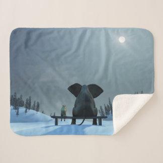 Dog & Elephant Friends Small Sherpa Fleece Blanket