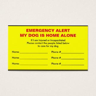 Dog Emergency Alert Home Alone Card