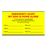 Dog Emergency Alert Home Alone Card Pack Of Standard Business Cards