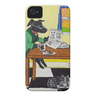Dog Enjoying Coffee and Donuts iPhone 4 Case-Mate Case