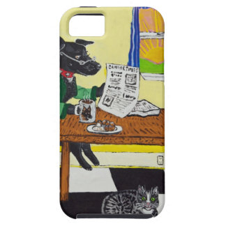 Dog Enjoying Coffee and Donuts Tough iPhone 5 Case