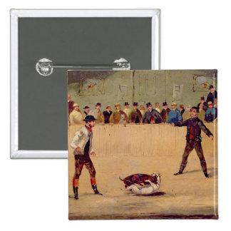 Dog Fighting (oil on paper) 15 Cm Square Badge