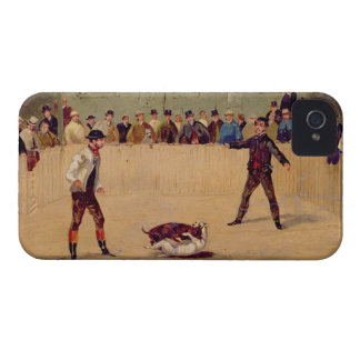 Dog Fighting (oil on paper) iPhone 4 Case-Mate Case