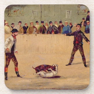 Dog Fighting (oil on paper) Beverage Coasters