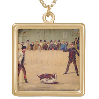 Dog Fighting (oil on paper) Square Pendant Necklace