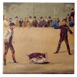 Dog Fighting (oil on paper) Tiles