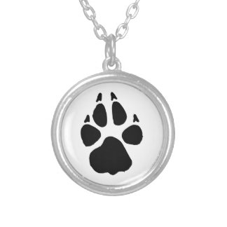 Dog Footprint Round Pendant Necklace