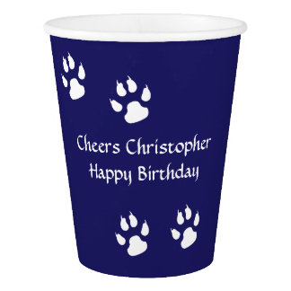 Dog Footprints Blue Paper Cup