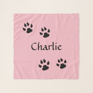 Dog Footprints Pink with Name Template Scarf