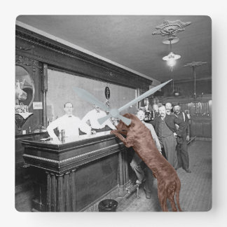 Dog Friendly Saloon Tavern Bar 1900 Photograph Square Wall Clock