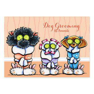 Dog Groomer Grooming Dogs in Robes Peach Pack Of Chubby Business Cards