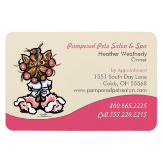 Dog Groomer Pet Spa Business Pink Yorkie Magnet