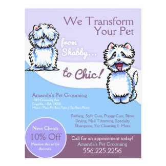 Dog Groomer Shabby Chic Westie Coupon Ad 21.5 Cm X 28 Cm Flyer