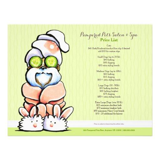 Dog Groomer Spa Shih Tzu Cucumber Price Sheet Full Color Flyer