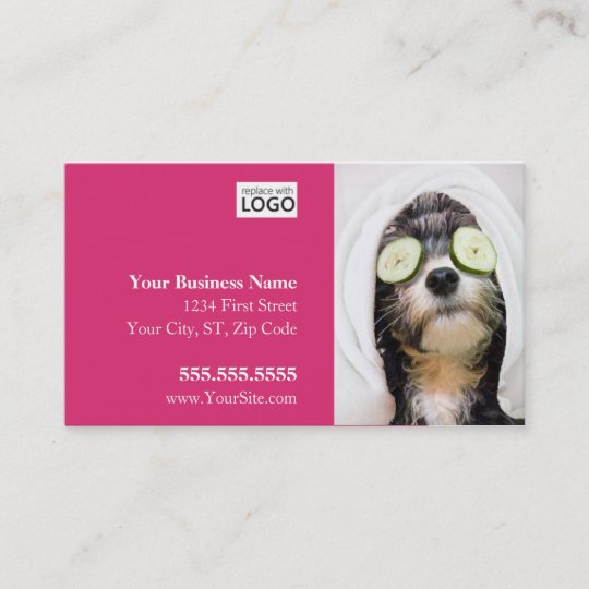 Dog grooming business cards spa design zazzle dog grooming business cards spa design reheart Image collections