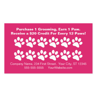 Dog Grooming Customer Rewards Card - Loyalty Card Pack Of Standard Business Cards