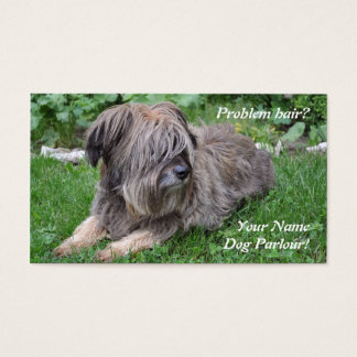 Dog grooming hairy sheepdog business card