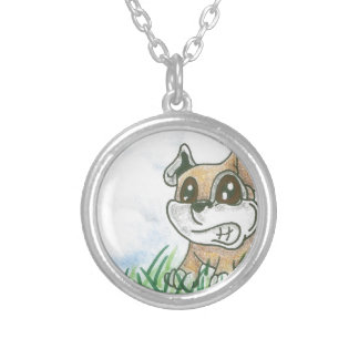 Dog Growl - TOWT  MAIN MASCOT - Full Background Silver Plated Necklace