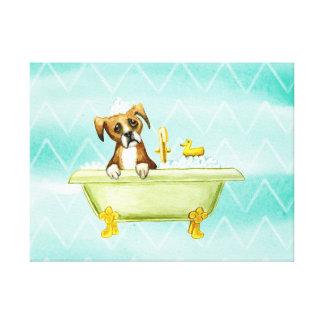DOG HAVING A BATH. ADORABLE CUTE PUPPY DOG CANVAS PRINT