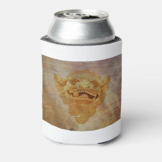 Dog head on a wooden board 9.1.3 can cooler