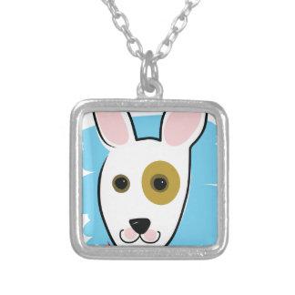 Dog Head Square Pendant Necklace