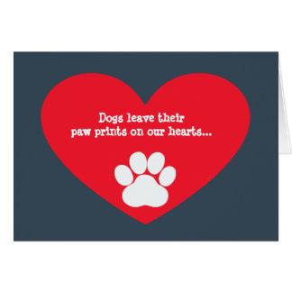 Dog Heart and Pawprint Sympathy Card