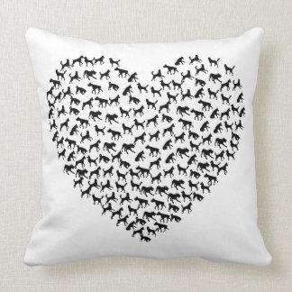 Dog Heart w/ Customisable Background Colour Cushion