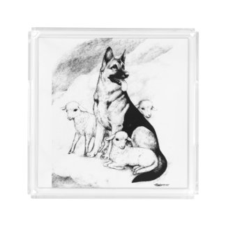 Dog Heaven, the Master's Flock Acrylic Tray