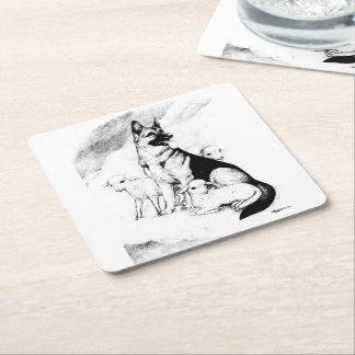 Dog Heaven, the Master's Flock Square Paper Coaster