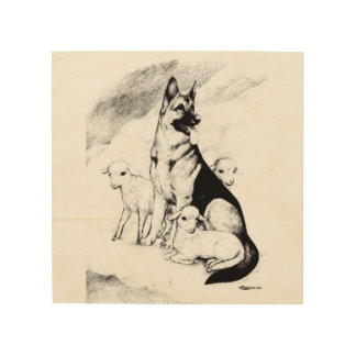 Dog Heaven, the Master's Flock Wood Print