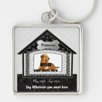 Dog House Pet Memorial Silver-Colored Square Key Ring
