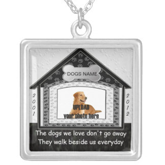 Dog House Pet Memorial Silver Plated Necklace