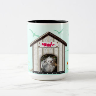 Dog House Photo Name Flowers Birds Blue template Two-Tone Coffee Mug