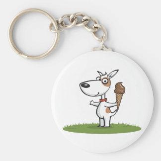 Dog Ice Cream Basic Round Button Key Ring