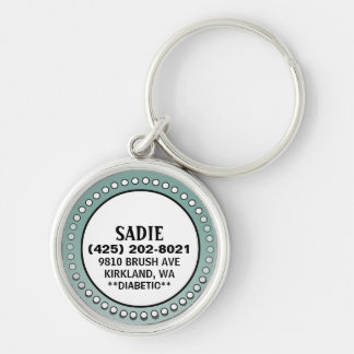 Dog ID Tag - Sage Green Stud Circle Key Ring