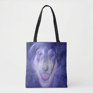 Dog in blue smoke tote bag