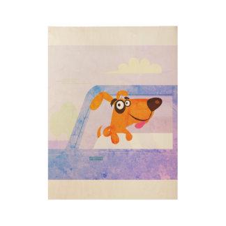 Dog in car : Vintage poster art / Blue Wood Poster