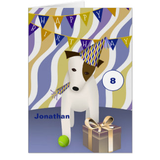 dog in party hat with gift boy's happy birthday card