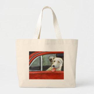 Dog in  Red Car Jumbo Tote Bag