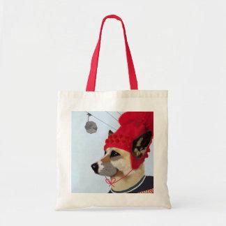 Dog in Ski Sweater Budget Tote Bag