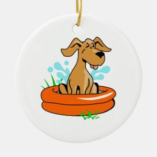 DOG IN SWIMMING POOL CERAMIC ORNAMENT